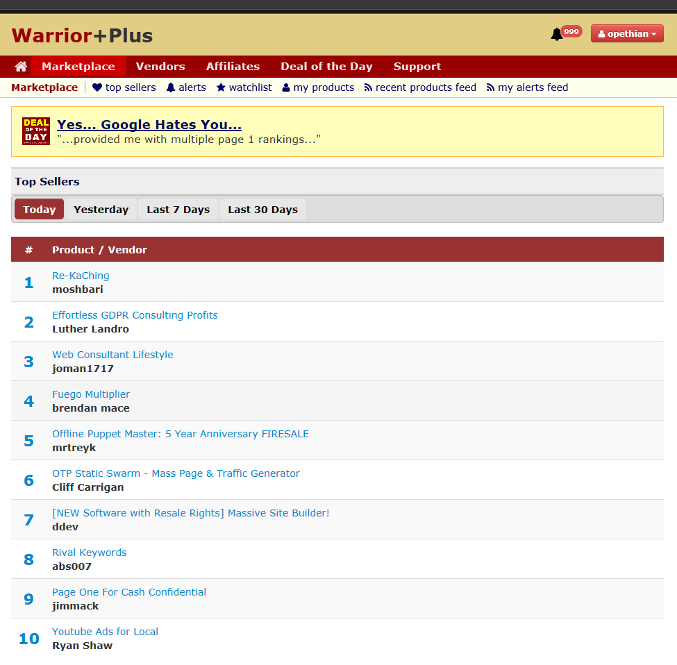 WarriorPlus screenshot